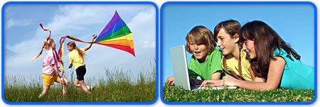 Teenagers at play flying a kite and using a laptop