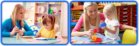 nursery staff helping young children